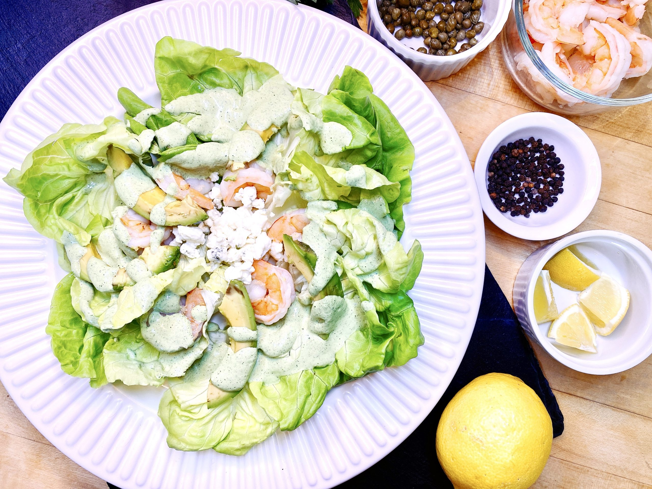 Plated Shrimp Salad with Green Goddess Dressing