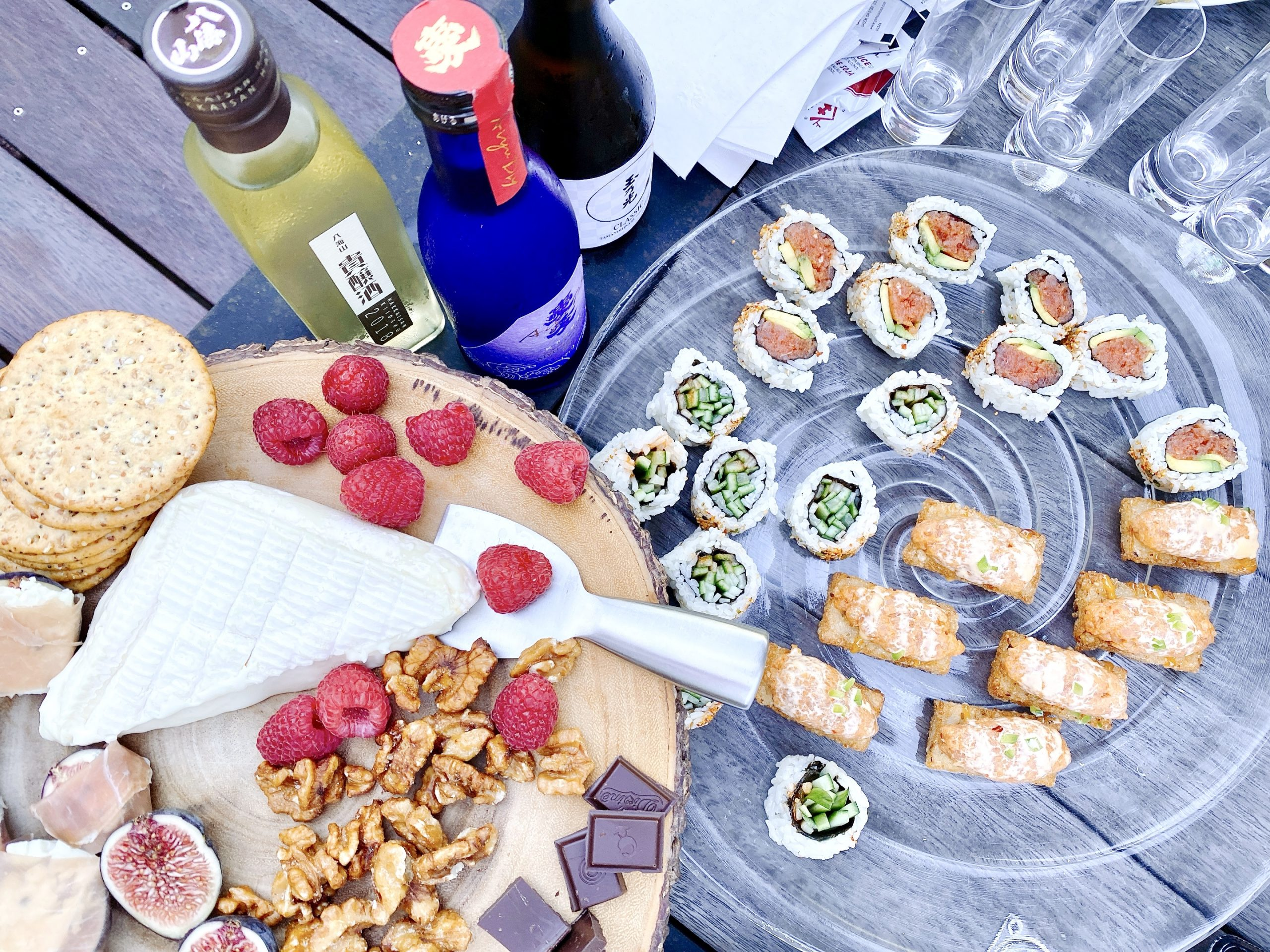 sake pairing with cheese, berries, nuts, chocolate, and sushi