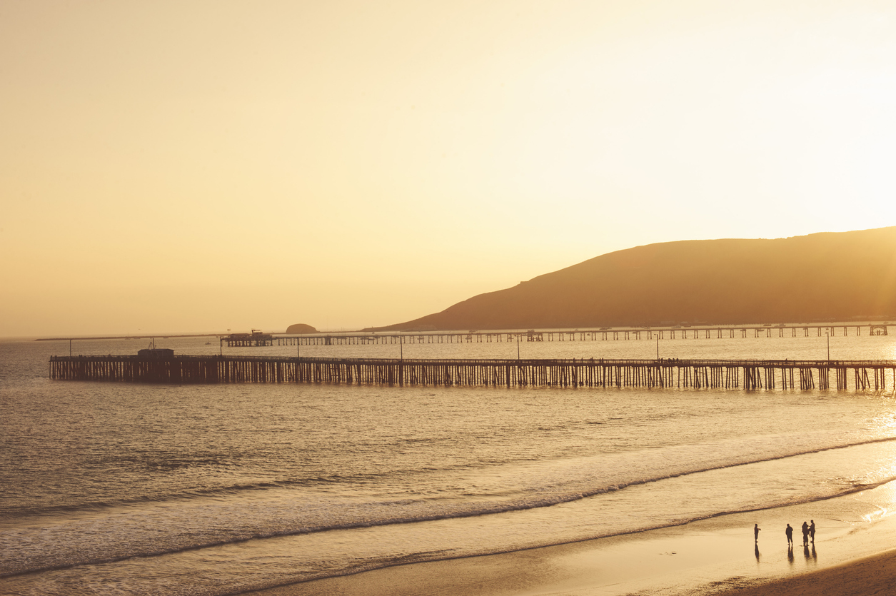 Avila Beach pier at sunset