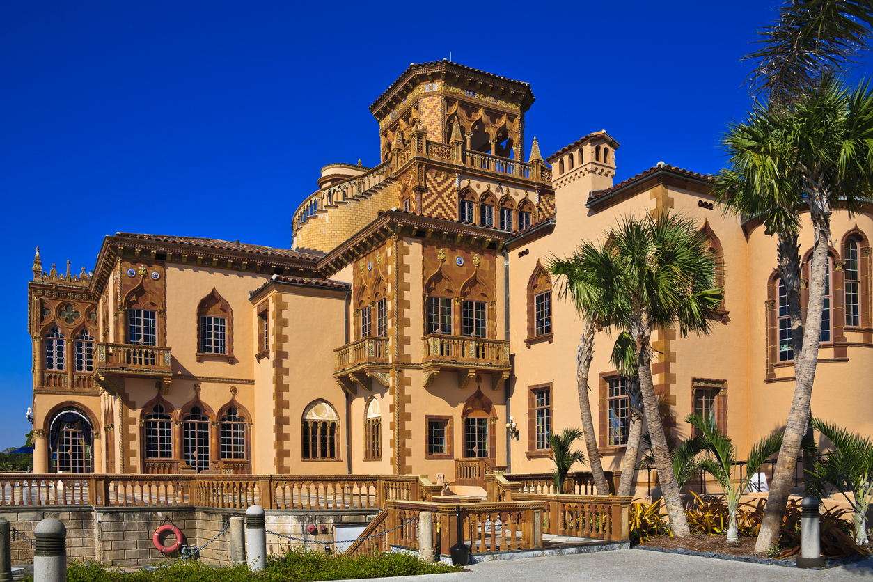 Ca' d'Zan. The palatial mansion of John and Mable Ringling. Sarasota, Florida. This ornate, Venetian style home is located at the Ringling Museum of Art and a popular Florida travel destination.