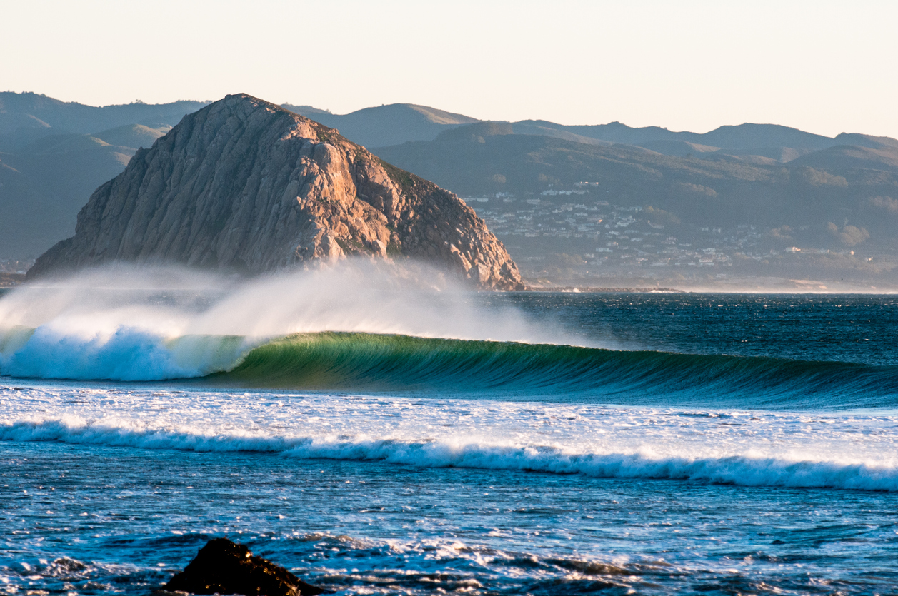Waves Break in Morro Bay California