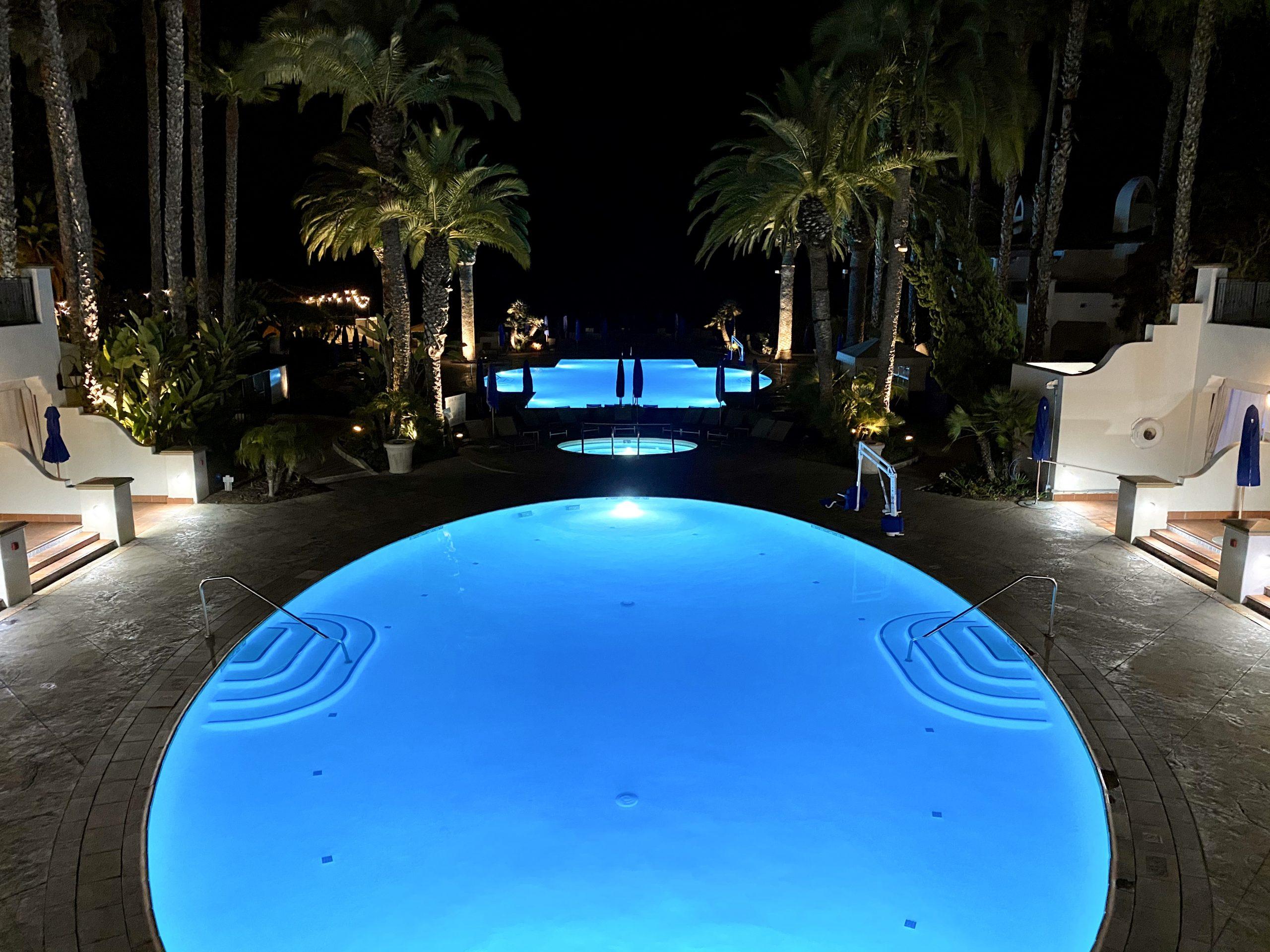 Night view of swimming pools at Ritz-Carlton Bacara Resort in Santa Barbara, CA