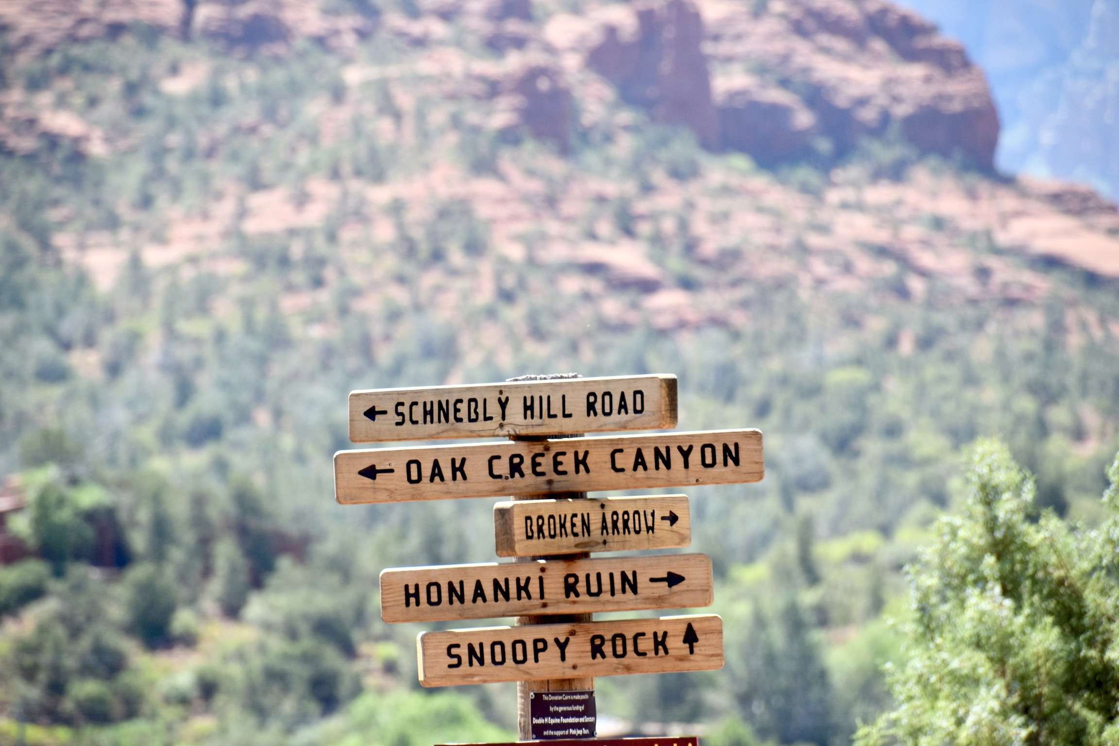 hiking trail sign located outside of Sedona Arizona