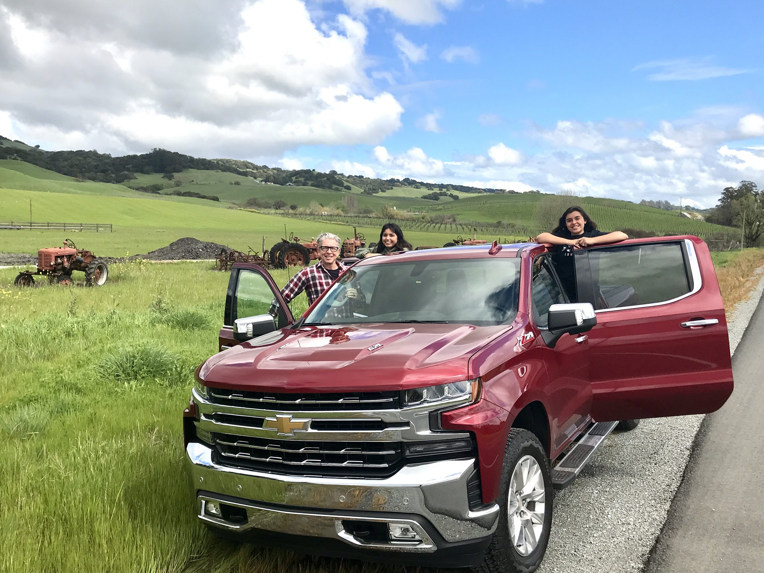 Stopping the pickup truck on the side of the road in Sonoma, CA to take a photo of the beautiful terrain.