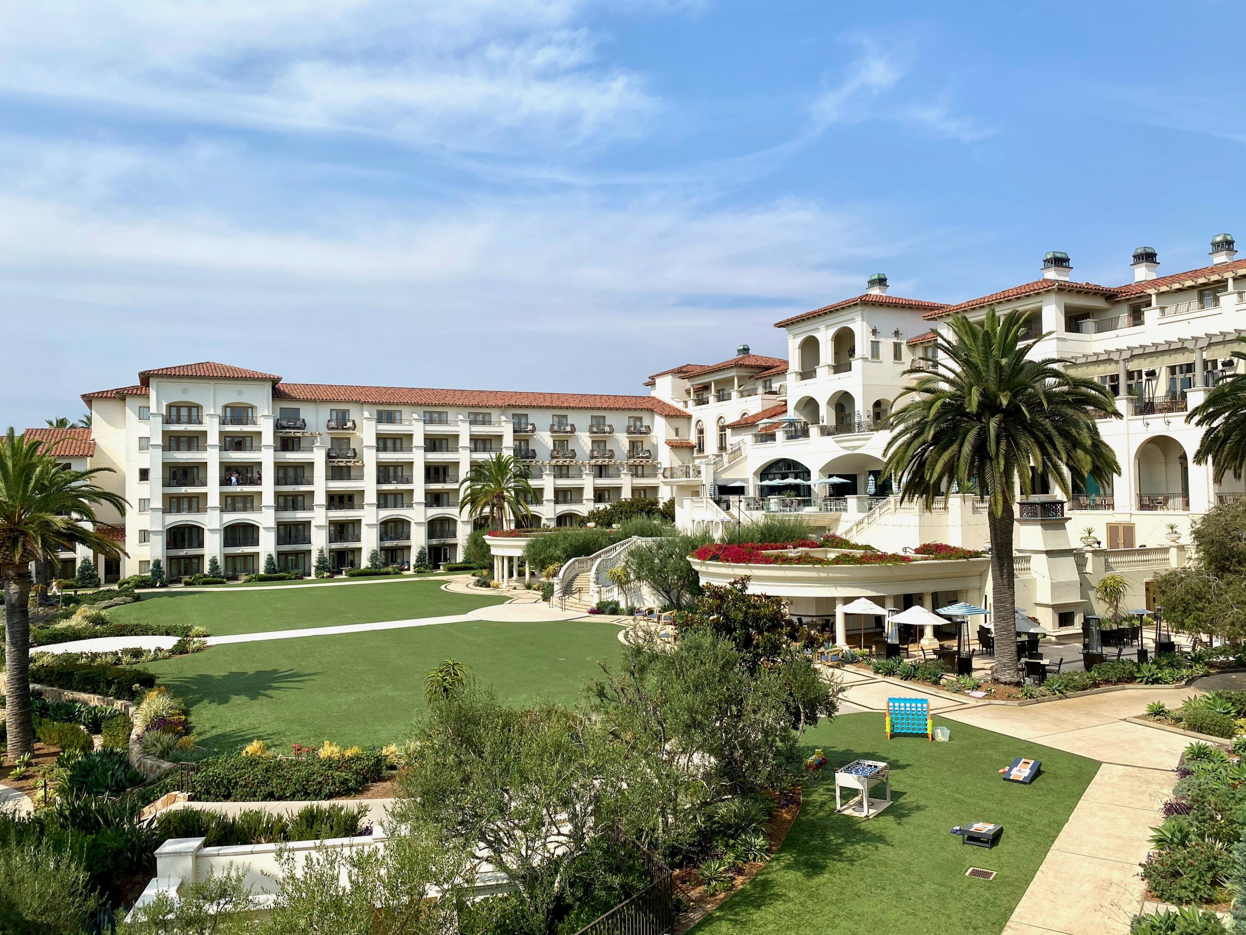 The Monarch Beach Resort buildings, terraces and lawns in Dana Point, CA