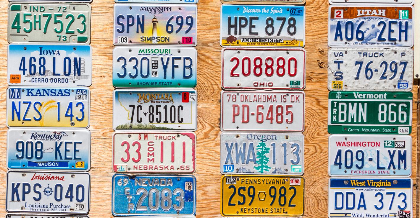 Kanab, Utah, USA - May 25, 2015: License Plates Collage in public place in Kanab Utah USA