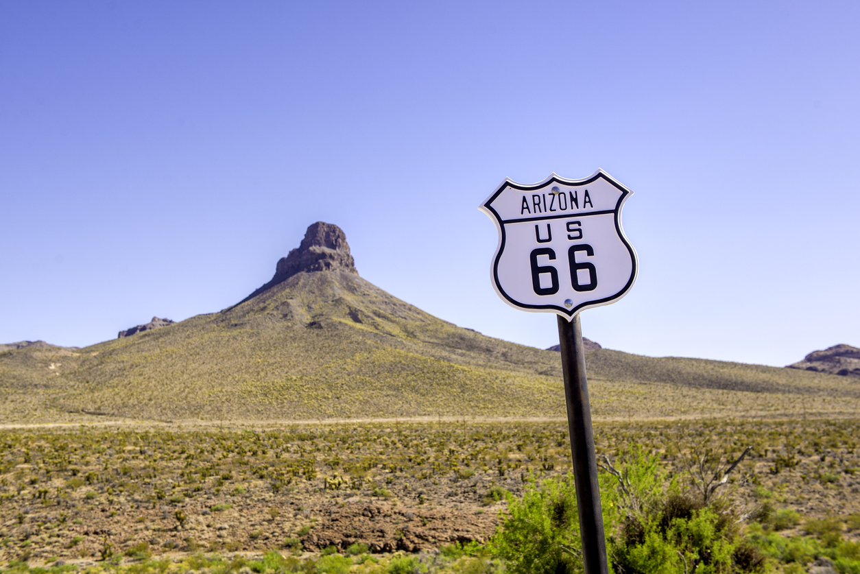 Route 66 sign on Oatman Road in rural Arizona