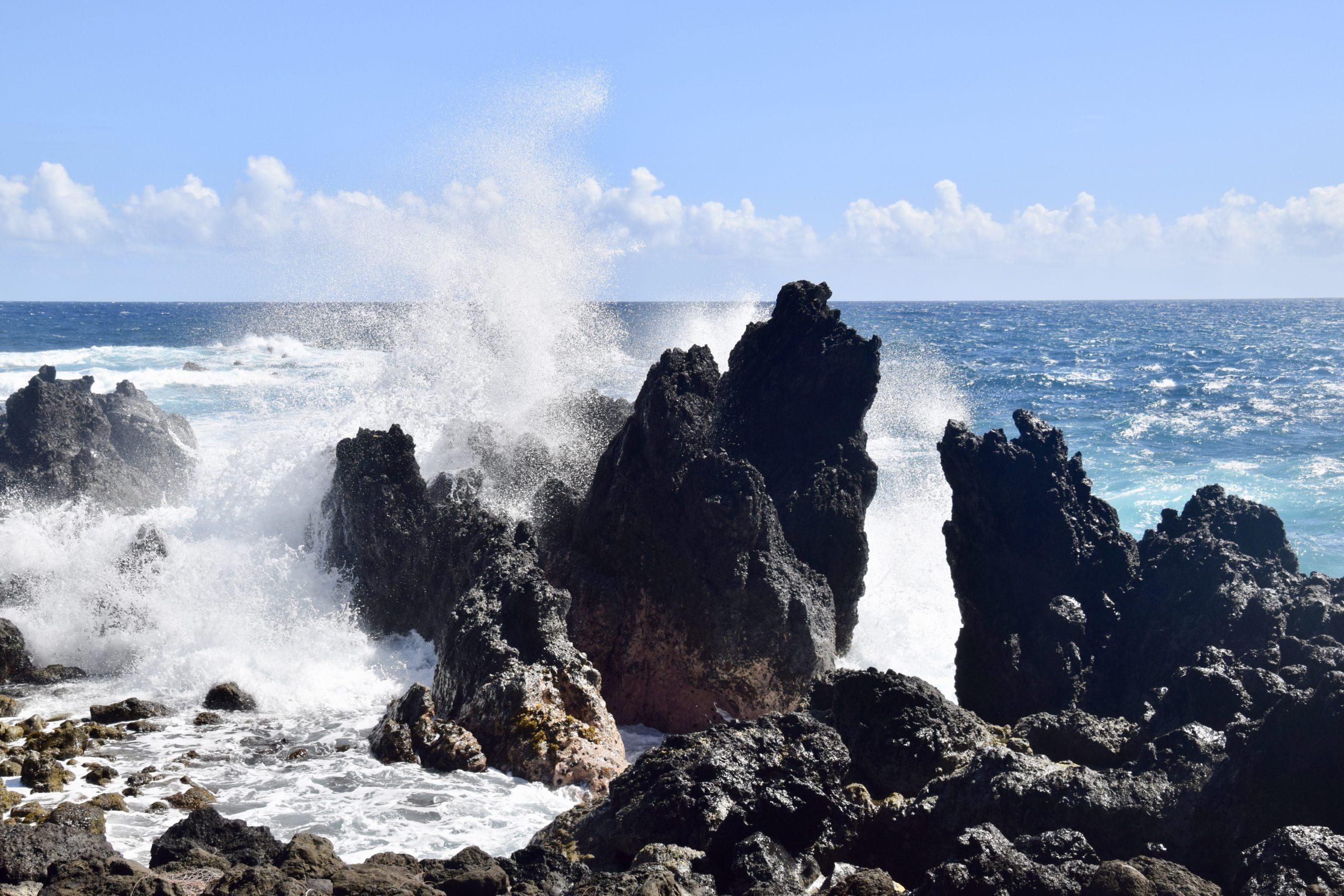 volcanic rocks form crazy surf breaks on the Island of Hawaii