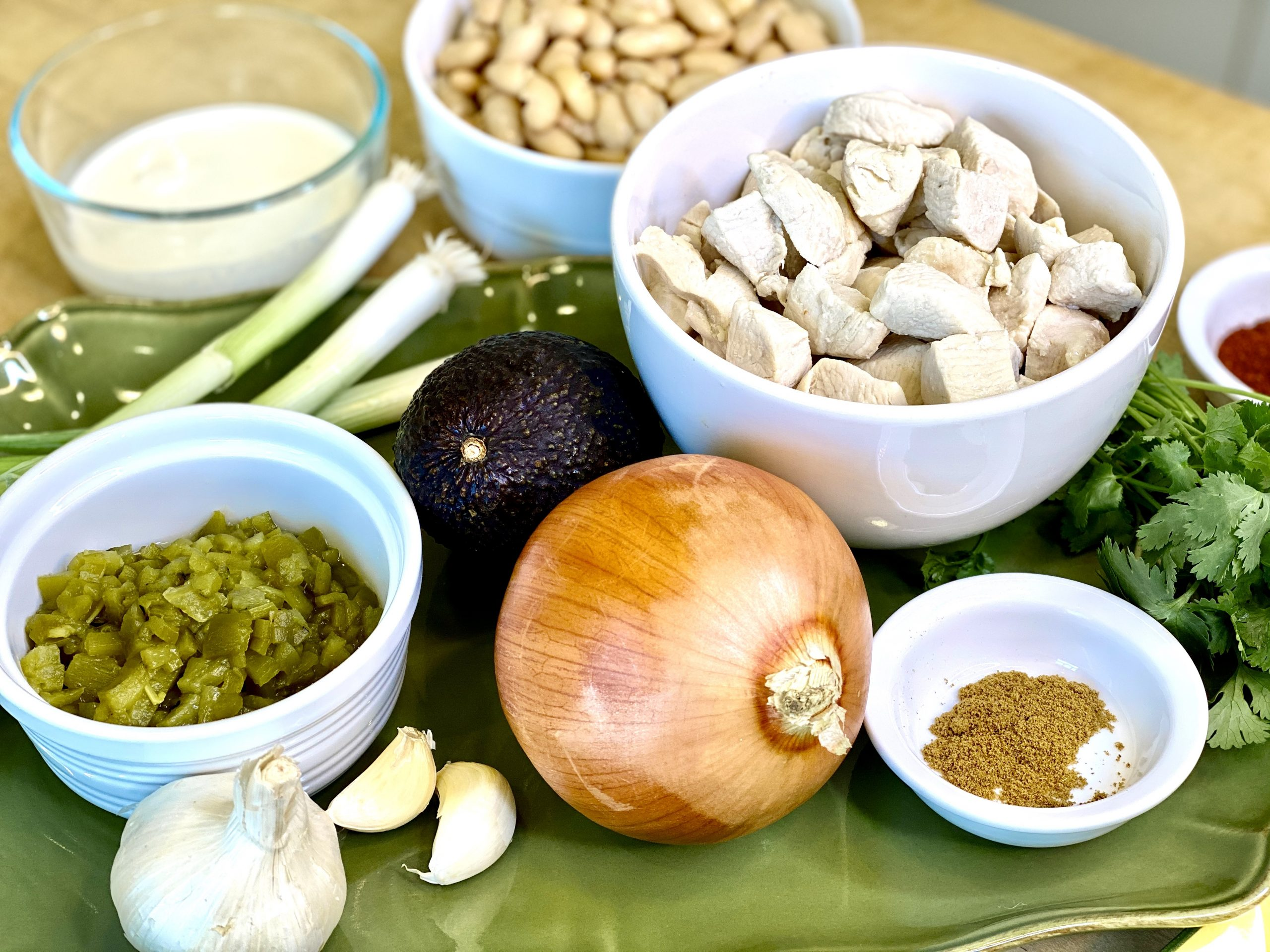 Display of ingredients for recipe for white chicken chili