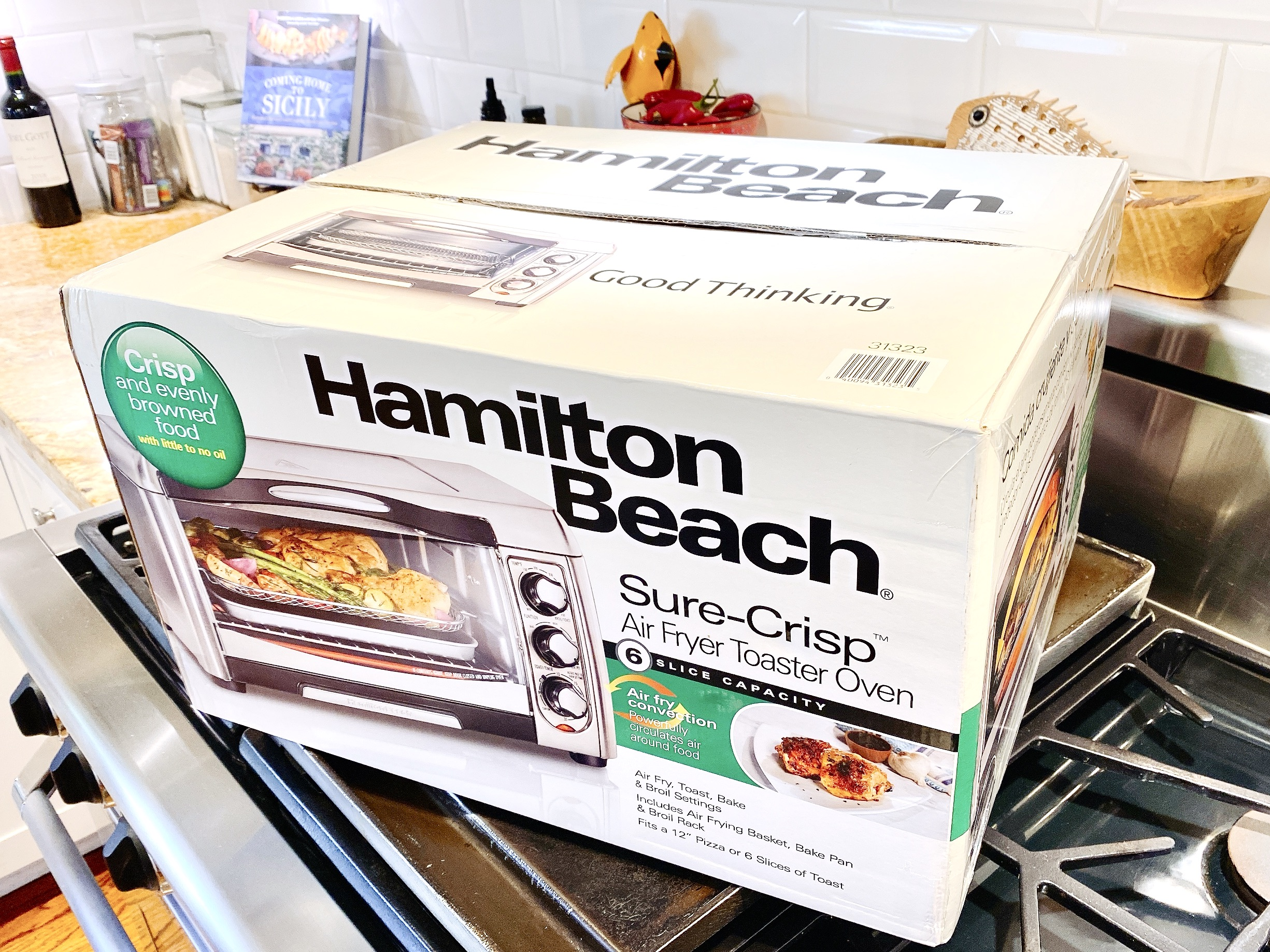 Hamilton Beach Sure-Crisp Air Fry Toaster Oven in box