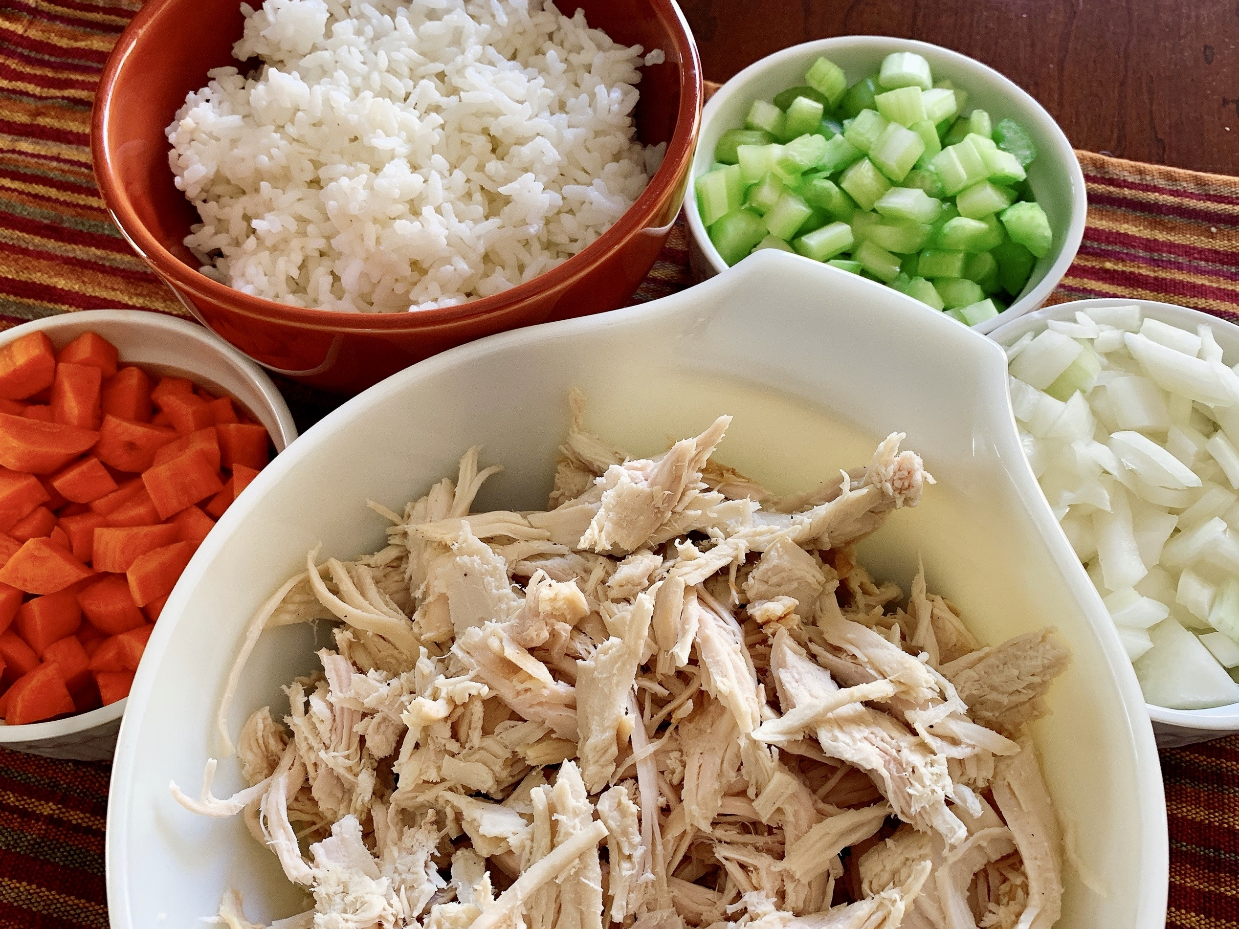 Chopped and prepped ingredients for making turkey soup