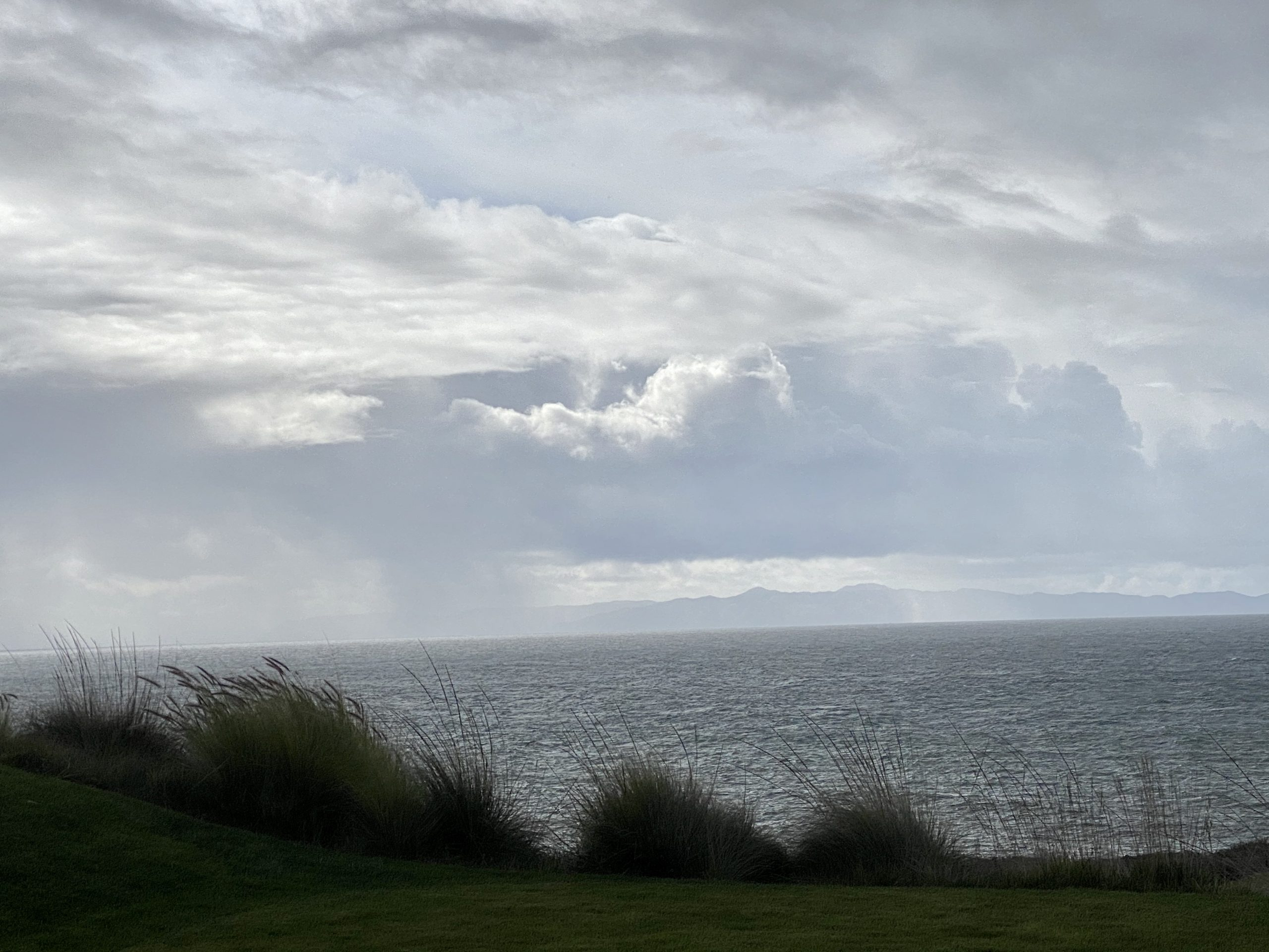 Storm blows over the Pacific Ocean near Terranea Resort in Rancho Palos Verdes, CA