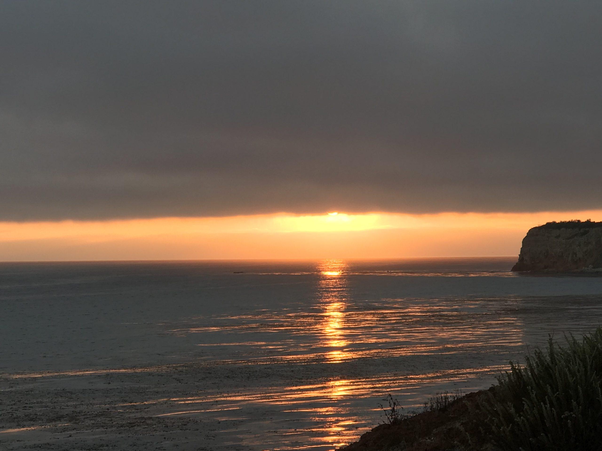 sunset under cloudy skies at Terranea Resort