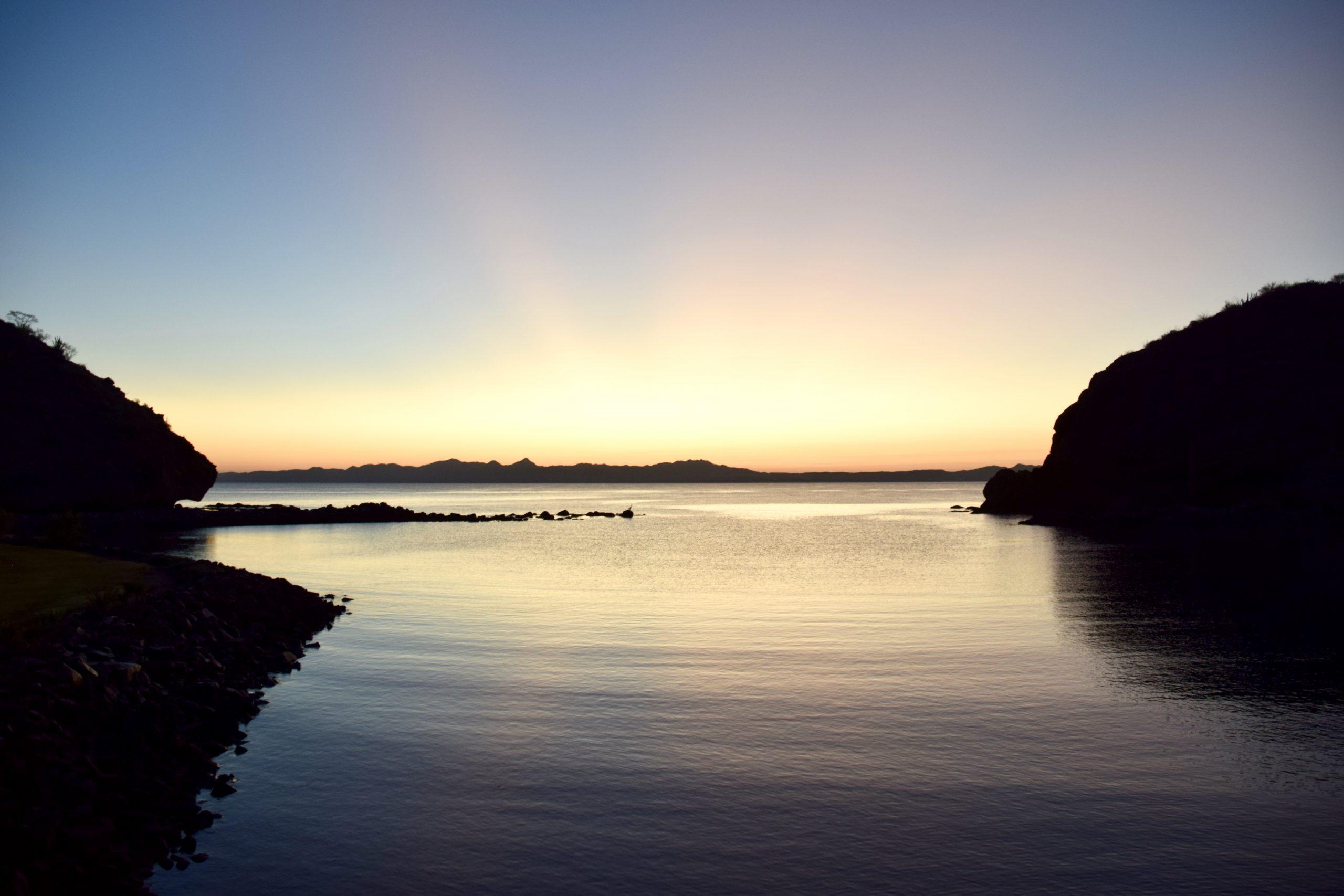 sun rises over Loreto Bay in Loreto, Mexico