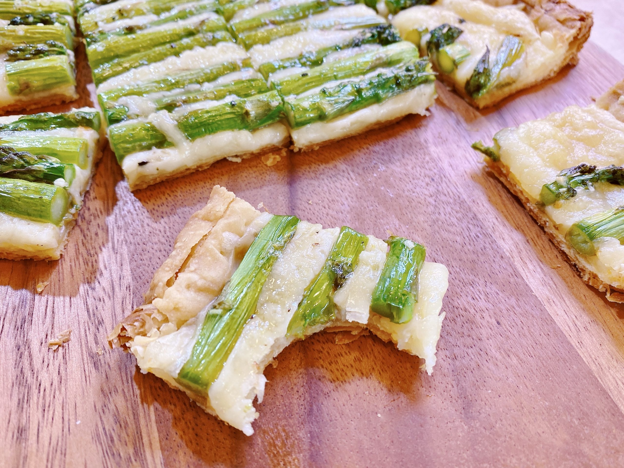 asparagus tart with bite taken