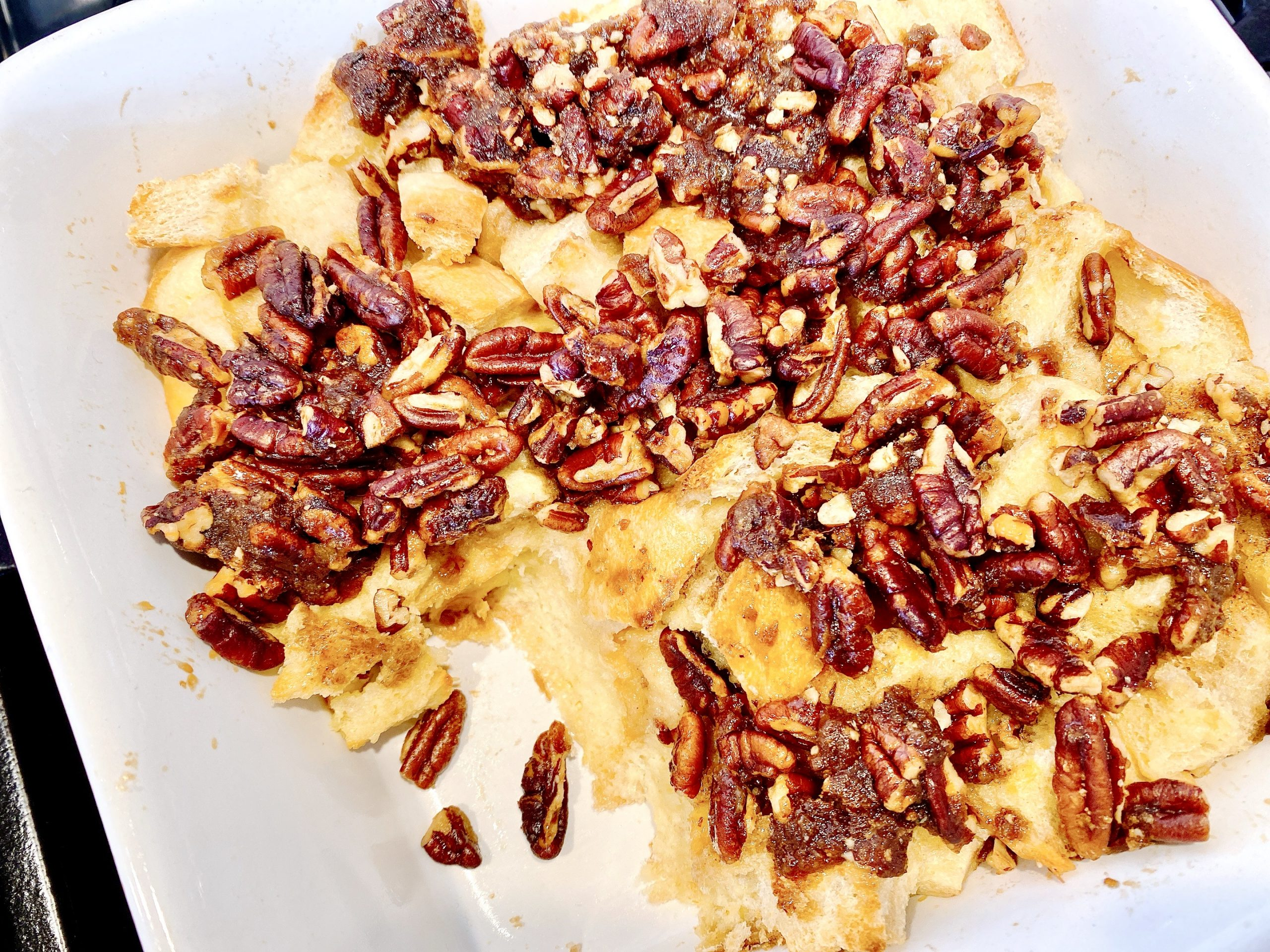 Casserole of Baked French Toast topped with pecans