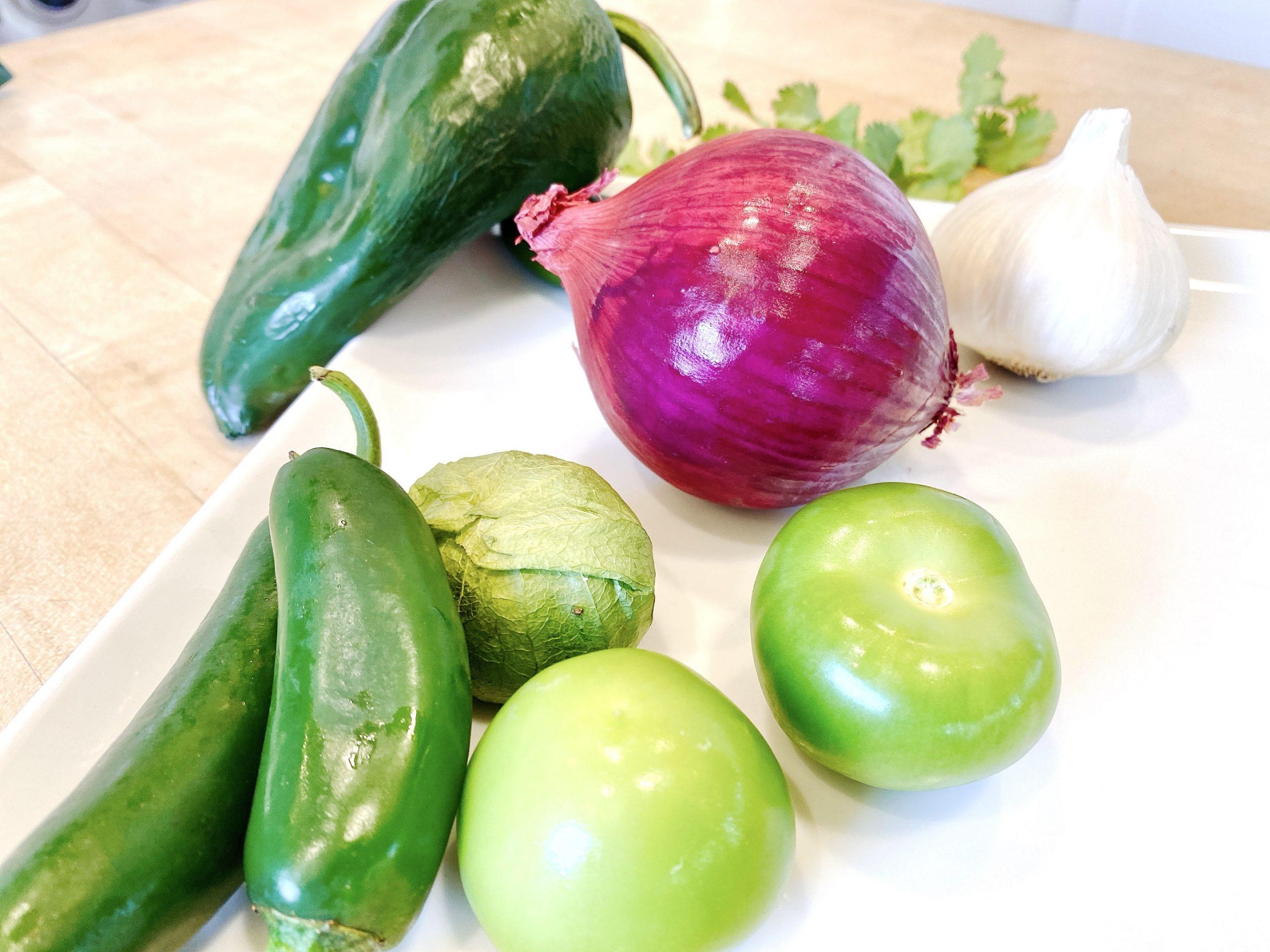 fresh vegetables to make flautas