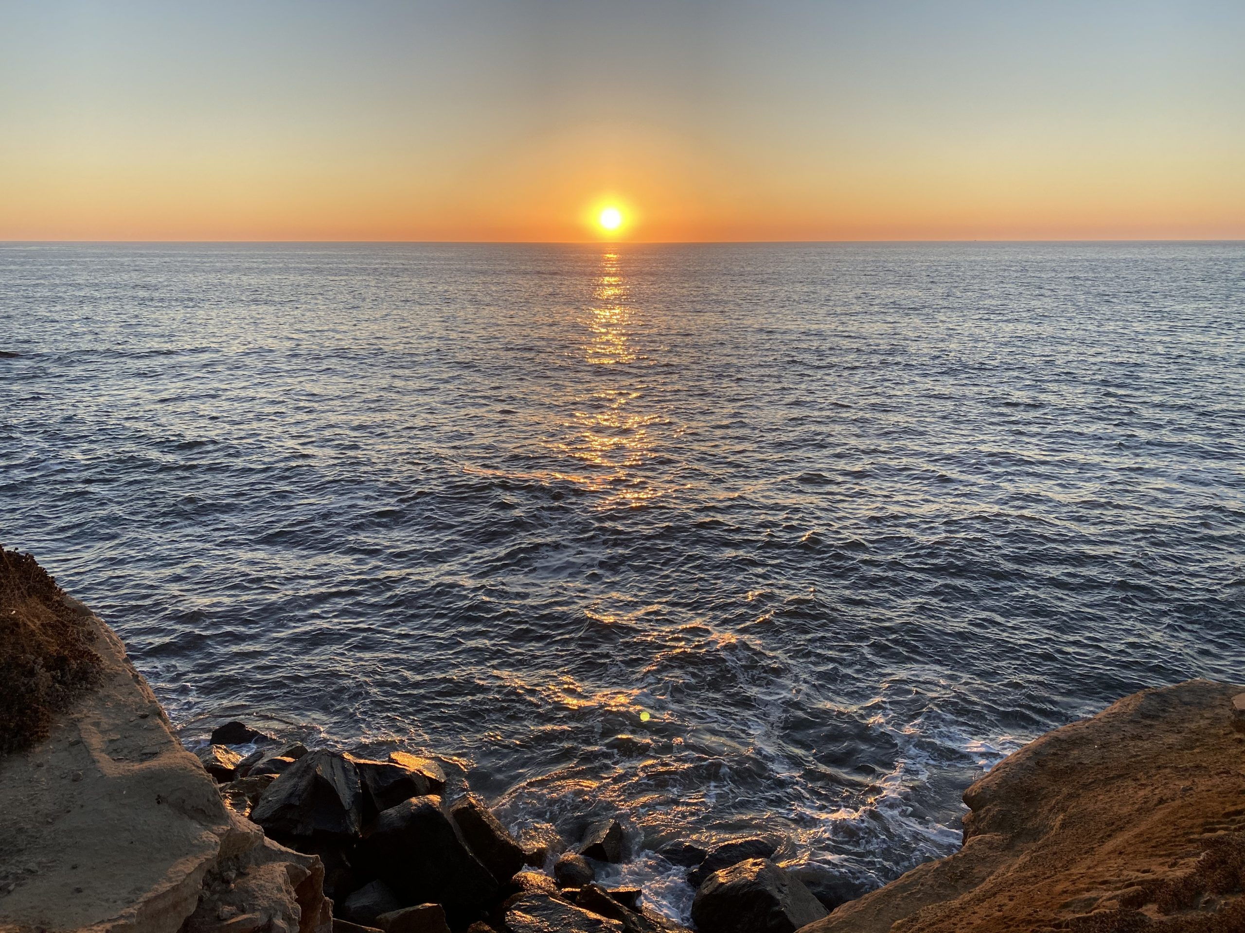 sunset at Sunset Cliffs in San Diego, CA