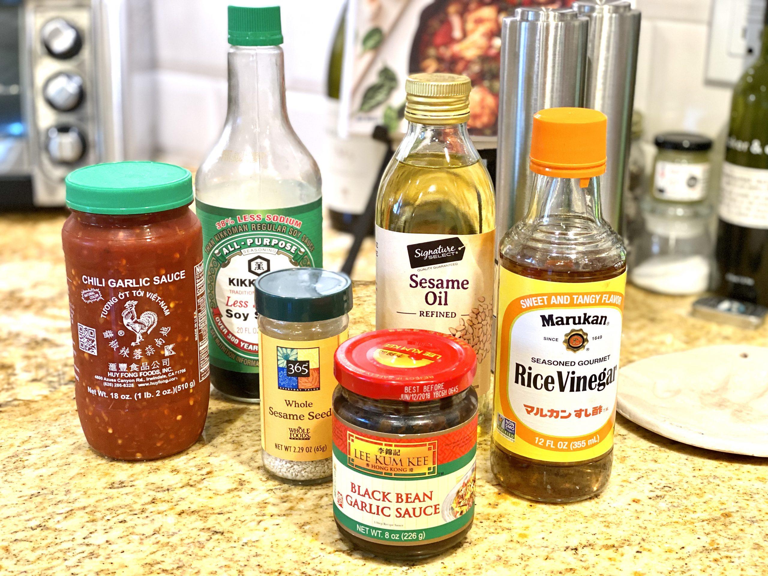 Ingredients to make Asian marinade
