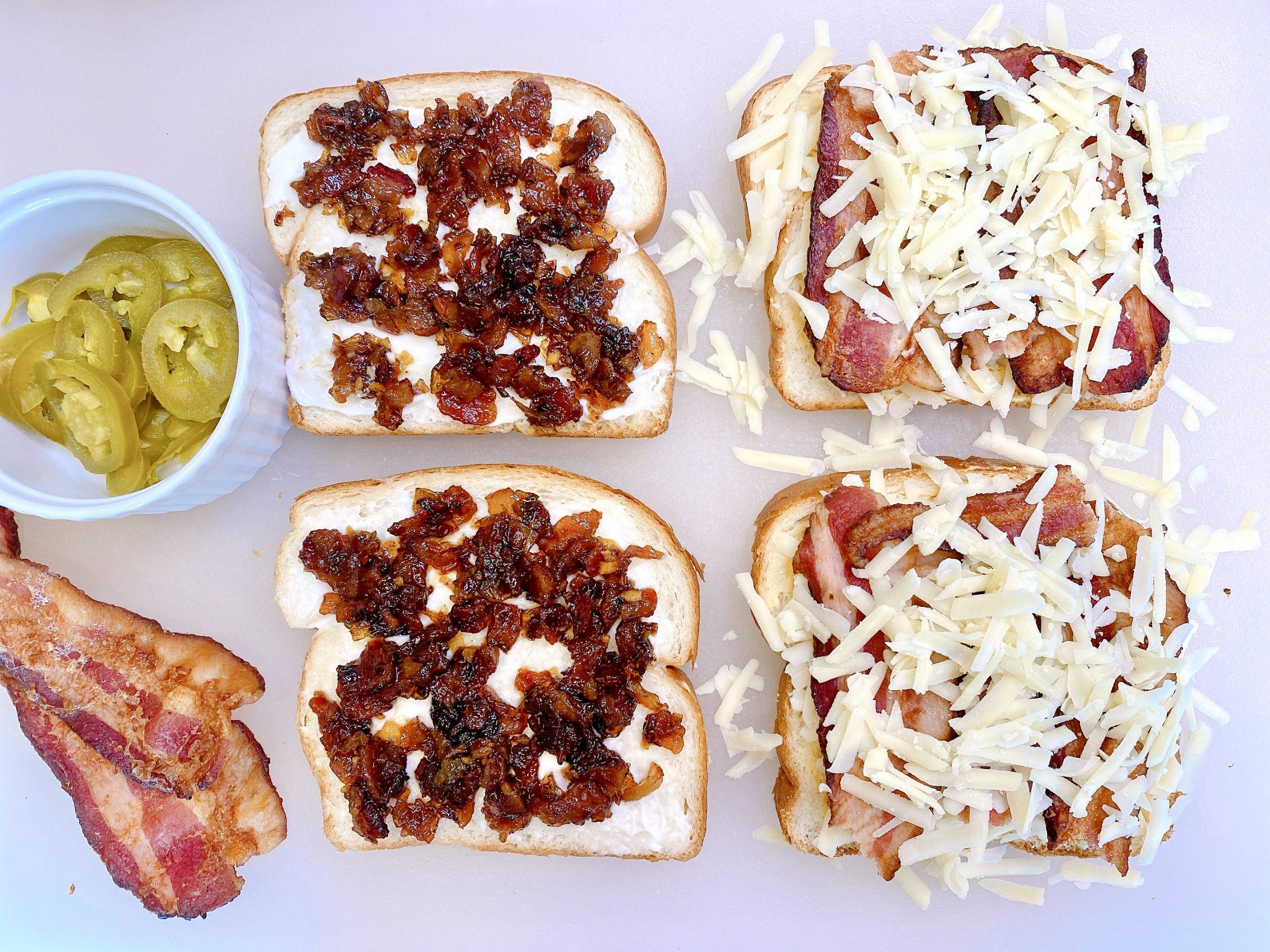 open face Monte Cristo sandwiches with bacon jam