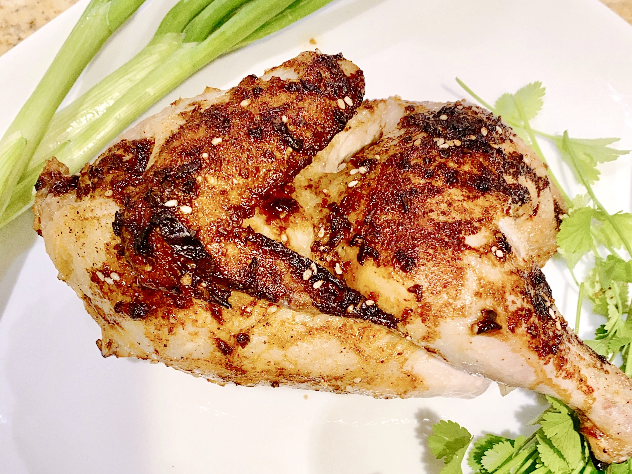 Recipe for Asian Chicken with Perdue Farms half chicken, green onion and cilantro
